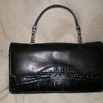 Brighton Small Black Leather Handbag Lots of Silver Hardware and Phone Case Photo