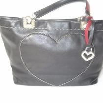 Brighton Small Black Leather Tote Purse- Lovely Photo