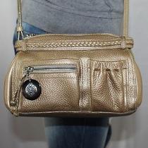 Brighton Small Gold Leather Shoulder Hobo Tote Cross Body Purse Bag Photo