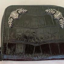 Brighton Small Purse Clutch Wallet Black Leather W Silver Accents Zip Closure Photo
