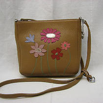Brighton Small Tan Leather Crossbody Purse Bag With Flower and Bird Detailing Photo