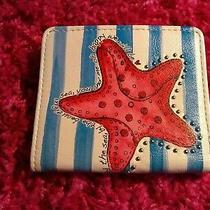 Brighton Starfish Sea Card Case Wallet Nwt Blue White Yellow Pink Leather Photo