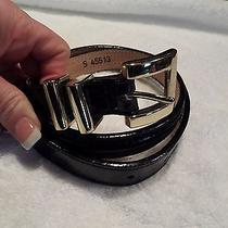Brighton Station Gold Tone Belt Black Patent Leather Euc Small S Collectible Hot Photo