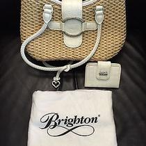 Brighton Straw Handbag With White Leather Trim With Tri-Fold Wallet New Photo