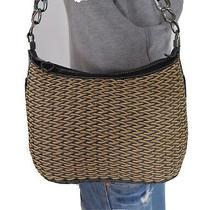 Brighton Straw Medium Leather Braided Shoulder Hobo Tote Satchel Purse Bag Photo