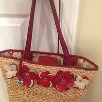 Brighton Straw Tote Bag With Red & Pink Flowers Photo