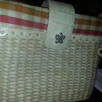 Brighton Straw Wicker Tote Shoulder Bag Tan Leather Flower Charm Purse Heart Photo