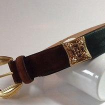 Brighton Suede Leather Belt Jewel Tone With Gold Accents Boho Women's M Medium Photo