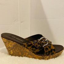 Brighton Summer 8.5 Leopard Platform Cork Wedge Cris Cross Slide Sandals Womens  Photo