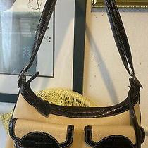 Brighton Summer Cream & Patent Leather Pocket Tote Handbag Hobo  Shoulder Bag Photo