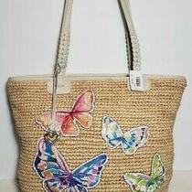 Brighton Suncatcher Sasha Embroidered Butterfly Woven Raffia Tote Purse Nwt 320 Photo