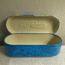 Brighton Sunglasses Case Blue & Yellow Floral Metal Hinged Hard Case Clean Photo