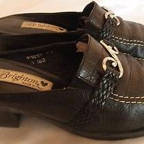 Brighton Sydney Black Womens Flats Slide Slip on Loafers Mules 8.5 Made in Italy Photo