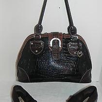 Brighton Sz 7.5 Tuscan Brown Croco Leather Black Microfiber With Satchel Handbag Photo