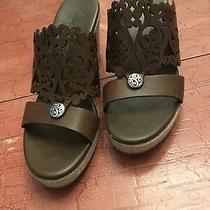 Brighton Sz 7 B Brown Scroll Work Leather Wedge Slip on Heel Sandals Photo