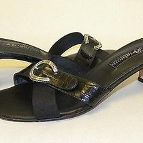 Brighton Sz 7 Tamyra Slip on Croc Black Heels / Sandals With Silver Horseshoe Photo