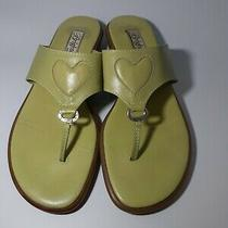 Brighton Sz 8 M June Green Leather Flip Flop Sandals With Heart Shoes Photo