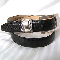Brighton Sz M L Black Lizard Textured Leather Belt W. Silvetone Buckle & Keeper Photo