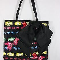 Brighton 'Take a Beau' Colorful Tote Bag W/large Black Satin Bow Photo