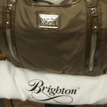 Brighton Taupe Tan Microfiber Patten Trim Bag Photo