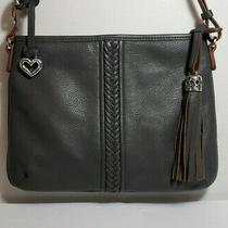 Brighton Tavi Rare Gray Leather Tassel Messenger Crossbody Purse Mint Nwot 260 Photo