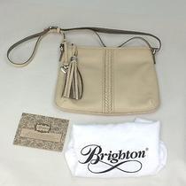 Brighton Tavi Tassel Zip Messenger Crossbady Bag Tan Biscotti Leather Purse Photo