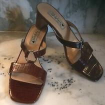 Brighton Terry Brown Sandals 9 N Narrow Euc Photo