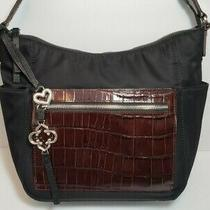 Brighton Toledo Col Blk/bwn Croc Tony Crossbody Organizer Wallet Purse Mrp340 Photo
