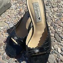 Brighton Tony Black Leather Slides / Sandals - Faux Croc - Worn Twice Photo