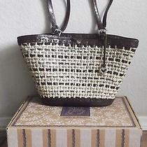 Brighton Tote Bag Woven Straw Mahogany Leather Large Purse   Photo