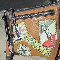 Brighton Travel Patches Bon Voyage Brown Camel Leather Crossbody Handbag Euc Photo