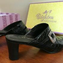 Brighton Tudor Mules Black Croc Leather Shoes Block Heel Sz 8 M Box 200  Photo