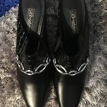 Brighton Twiggy  Italy  Black Croc Leather Mules Heels Shoes 95 M- Euc Photo