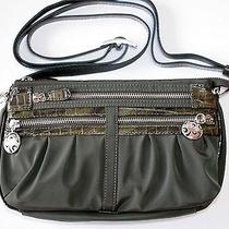 Brighton Twister Go Go Olive Microfiber & Leather Crossbody / Organizer Purse   Photo