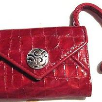 Brighton Twister Iphone Card Case Wristlet Wallet Croc Red Leather Ret 75 Nwt. Photo