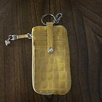 Brighton Twister Yellow Croc Embossed Id/card Case Wallet Fob Coin Purse Photo
