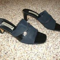 Brighton Tyra Black Microfiber Croc Braided Leather Slides Sandals Italy 9 M Photo