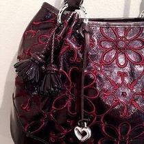 Brighton Valencia Lg Soft Tote Merlot Metallic Floral Embroid Leather Purse Nwt Photo