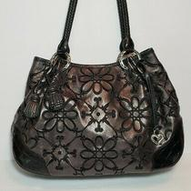 Brighton Valencia Pewter Metallic Floral Embroidered Handbag Shoulder Bag Purse  Photo