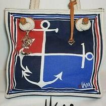 Brighton Vera Neumann Xlg Canvas Tote Sailor Anchor Nautical Red White Blue 28o Photo