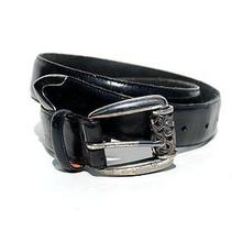 Brighton......vintage 90's Black Leather Belt W/silver Metal Scrolled Buckle M Photo