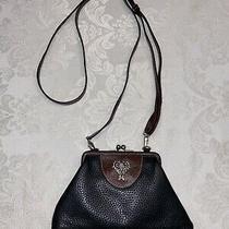 Brighton Vintage Black Brown Leather Kisslock Clutch Crossbody Bottom Zip Wallet Photo