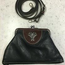 Brighton Vintage Black/brown Leather Kisslock Clutch/crossbody Leather Strap  Photo