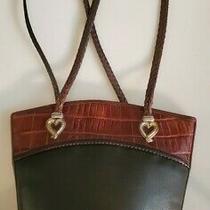 Brighton Vintage Black Croco-Embossed Leather Bucket Tote Purse W Braided Straps Photo