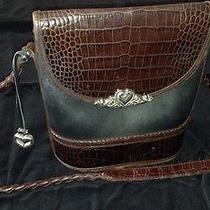 Brighton Vintage Brown Croc Black Leather Crossbody  Shoulder Bag  Purse  Photo