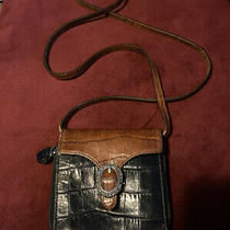 Brighton Vintage Leather Wallet on Strap Crossbody Organizer Handbag Black Croc Photo
