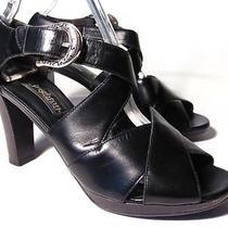 Brighton Vogue Sandal High Heel Women Size 7.5 M Black Leather Photo