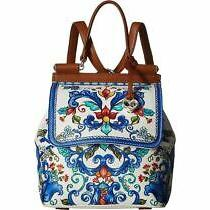 Brighton Volare Alisa Leather Convertible Backpack Blue Multicolor Floral Birds  Photo