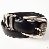 Brighton Vtg 1995 Black Leather Belt With Silver Plate Buckle S40503  Photo