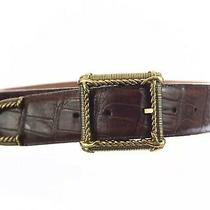 Brighton Vtg 1995 Womens Croc Embossed Leather Belt Gold Brown Sz Medium 28- 31